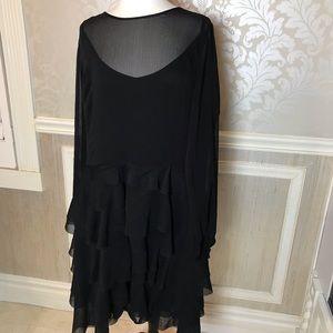 City Chic NWOT M/18 black tiered illusion dress